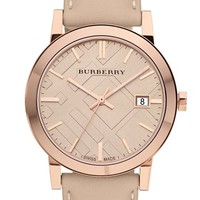 Women's Burberry Check Stamped Round Dial Watch, 38mm