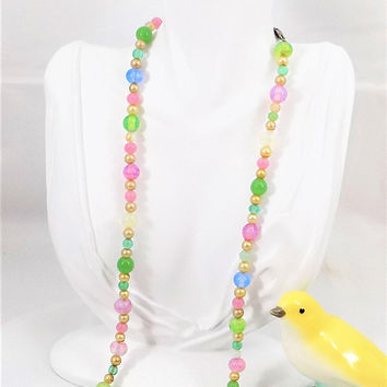 Pastel Glass and Pearl Beaded Necklace, Blown Glass Czech Beads, Vintage Beaded Necklace