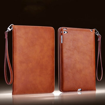 Ipad Air 1/2 Leather Retro Briefcase with Hand Belt Holder Case compatible for Apple ipad 5 ipad 6