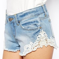 ASOS Low Rise Denim Shorts with Lace Trim