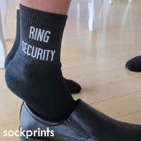 Ring Security Wedding Socks - Black Cotton Crew Socks