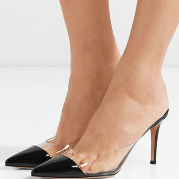 Gianvito Rossi - Plexi 85 patent-leather and PVC mules