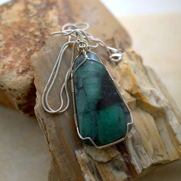 Emerald specimen aluminium silicate natural stone free form pendant silver wire wrapped with necklace