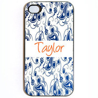 iPhone 4 4s Blue Floral Design With Name Hard Snap by KustomCases