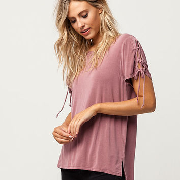 MIMI CHICA Lace Up Sleeve Womens Tee | Knit Tops + Tees
