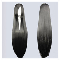 "Women Fashion 100CM/39"" Long straight Cosplay Fashion Wig heat resistant resistant Hair Full Wigs   Black"