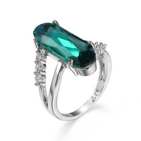 NEW S925 Sterling silver Rings green/purple Long Elliptic Section 2017 Engagement CZ Rings For Women Latest Design