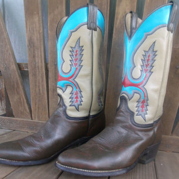 Upcycled Hand Painted Cowboy Boots - Size 10 In Mens Size 11 In Womens