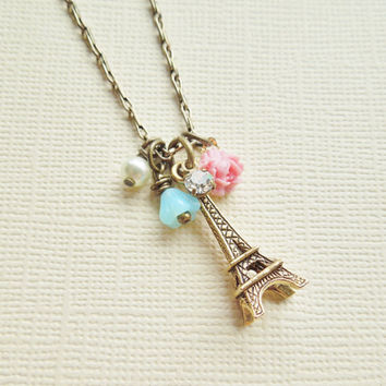 From Paris - Vintage Charm Style Necklace - Shabby Chic, Vintage Trinket Necklace, Pastel