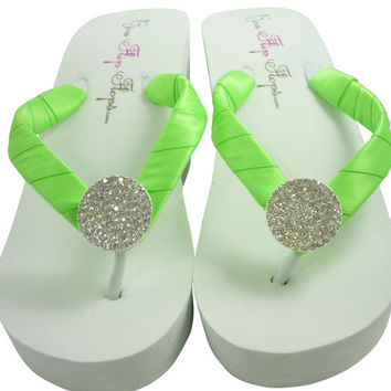 Bridesmaid Wedding Flip Flops/ Bride Flip Flop Sandals/ Acid green- choose satin color- round jewel bling - wedge ivory white heel/flat
