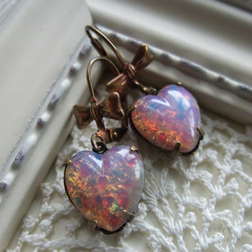 Pink Opal Heart Earrings Harlequin Opal Heart by debradane on Etsy