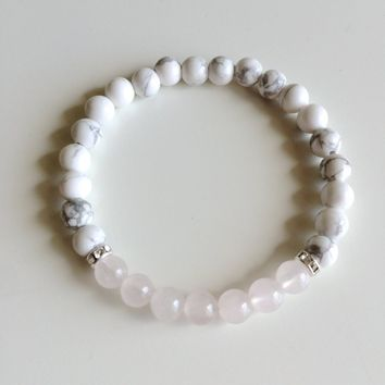 Genuine Rose Quartz & White Howlite Bracelet w/ Swarovski Crystal Spacers ~ 6mm Beads ~ Calm