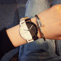 South Korea Ulzzang Europe and Trend of Male and Female Students In Korean Lovers Watches Retro Minimalist Black and White Belt