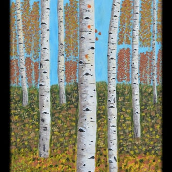 ASPENS Painting Original Painting Landscape Painting Autumn Painting Art , Home Decor Birch Tree Painting