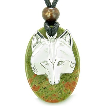 Wise Wolf Mask Spiritual Powers Unakite Gemstone Pendant Necklace