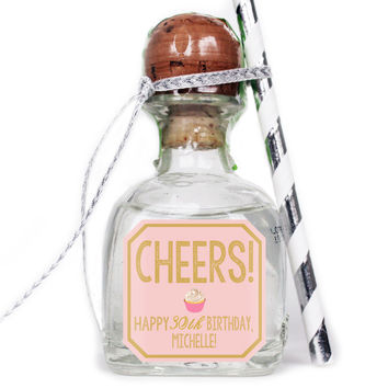 Cheers - Birthday Patron Mini Bottle Labels