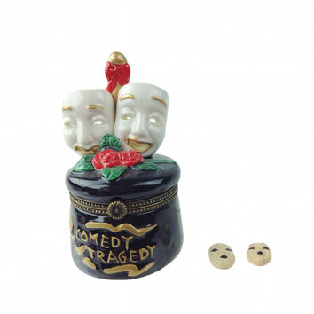 Comedy and Tragedy Mask Shakespeare Jewelry Box