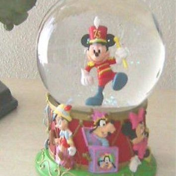 "Licensed cool 5"" MICKEY MOUSE 75th Anniversary Snowglobe Marching Band Toys DISNEY LIMITED ED"
