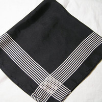 1980s Small Silk Scarf by Talbots in Black with White Intersecting Stripes, 21 Inches Square, ~~by Victorian Wardrobe