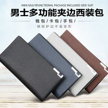 2015 New men's casual Toothpick Stripe Iron edge long wallets/purse/money clip for man free shipping C13829