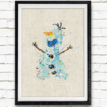 Olaf Frozen Disney Poster, Watercolor Art Print, Children's Room Decor, Minimalist Wall Art, Not Framed, Buy 2 Get 1 Free!