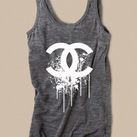 Chanel Splatter Logo Womens Tank in Burnout Gray Size  Small