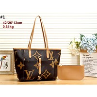 Free Shipping-LV retro women's large-capacity shopping bag mother bag two-piece #1