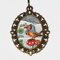 Mushroom Bird Necklace, Birds, Toadstool Jewelry, Mushrooms, Clover, Oval Pendant