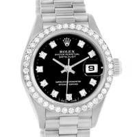 Rolex President Datejust 18k White Gold Diamond Ladies Watch 69139