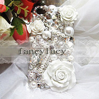 iPhone 4 case - best iphone 4 case - unique iphone 4 case - luxury crystal iphone case white flowers - bling cross iphone 4 case cover