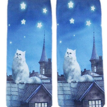 3D Socks! New! Novelty! Cat on Rooftop Stars