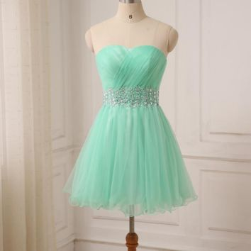 Short Prom Evening Dress Sweetheart Sleeveless Empire A-line Girl Evening Party Gowns