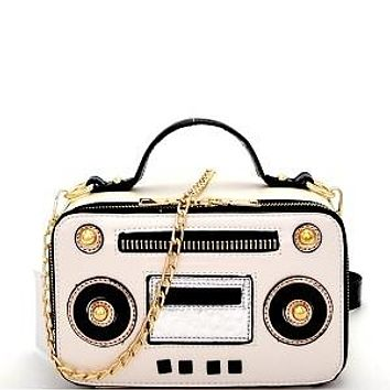 All about the Boom Box Purse Silver