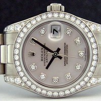 ROLEX - Ladies 26mm 18kt White Gold Datejust President - MOP Diamond - 179159