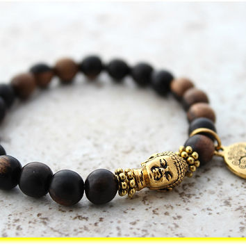 Gold Buddha Bracelet Gold Tree of Life Buddha Jewelry Wood Yoga Mala Buddha Head Bracelet Wrist Mala Buddha Meditation Prayer Beads Bracelet
