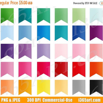 50% OFF SALE Bunting Flags Clipart, Bunting Clip Art, Colorful Flags, Banner Flags, Digital Flags, Banner Graphics, PNG, Commercial