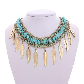 Bohemian feather beaded necklace