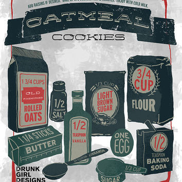 Illustrated Recipe Oatmeal Cookies 11x14 by DrunkGirlDesigns