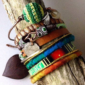 Tribal gypsy bangle stack in orange and green: bangle set, bracelet set, gypsy bangles,  vintage tin cuff, rustic tribal, bohemian bangles