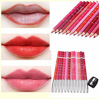 lip liner Luckyfine Ultra Pro Beauty Products 12 pcs makeup Professional Waterproof Lipliner Pencil Set with Pencil Sharpener for Colored Pencils