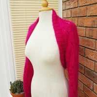 Knitted Bolero, Women Handknited Mohair Bolero, Lace Mohair Bolero, Shrug in Hot Pink