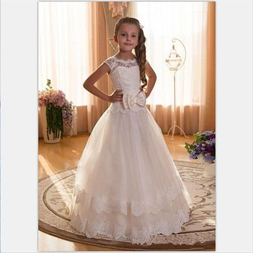 vestido longo White Lace Flower Girl Dresses Bow Long First Holy Communion Dresses For Girls Party Newest Design Birthday Gowns