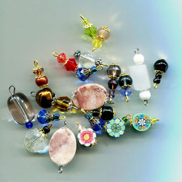bead drops charms pendants stone gemstone glass beads clay beads 22 piece assorted mix #supply2066