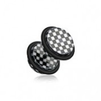 Classic Checkered Acrylic Fake Plug with O-Rings