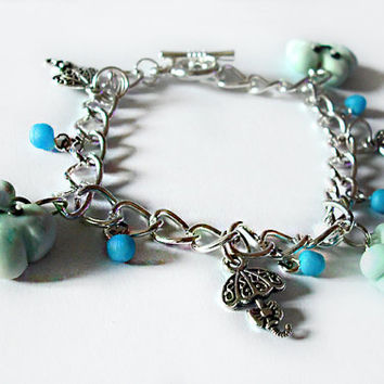 Clouds kawaii bracelet and umbrellas kawaii style handmade in cold porcelain