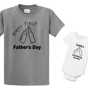 First Fathers Day Set, Fathers Day, Deinming Buddy, Daddy, daddy and me, milk, beer, like daddy, best friends, son, clothing set, matching