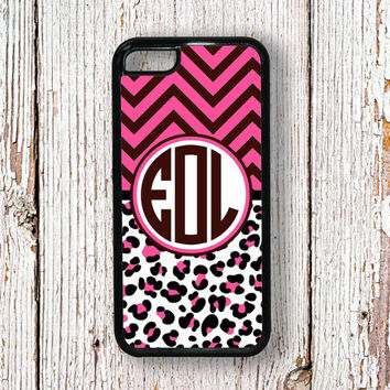 Cheetah Iphone 4 case chevron iPhone 5s case monogram iPhone 5c case - Hot pink, brown cute leopard print -  fits iPhone 4/4s/5/5s/5c (1295)
