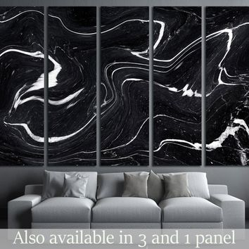 Black Marble ink texture acrylic painted waves texture background  №2577
