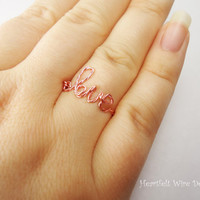 Love Ring, Twisted Wire Love Ring, Rose Gold