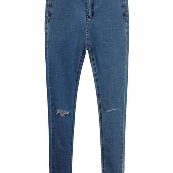 Blue High Waist Jeans with Ripped Knee